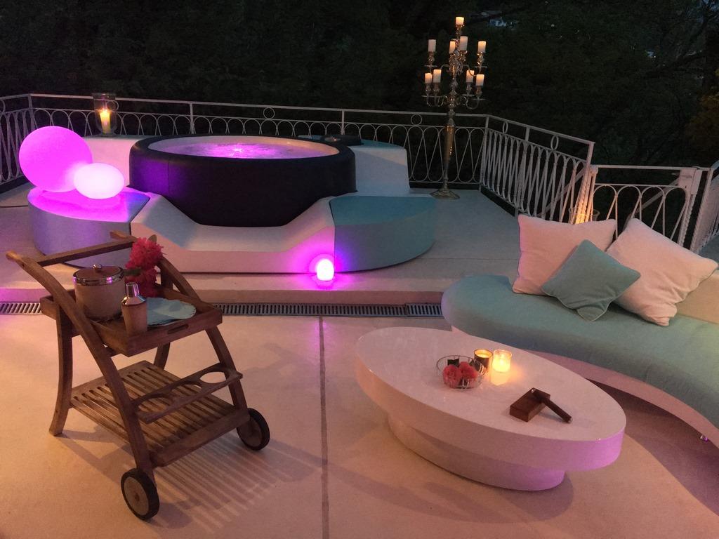 Softub hot tub at night