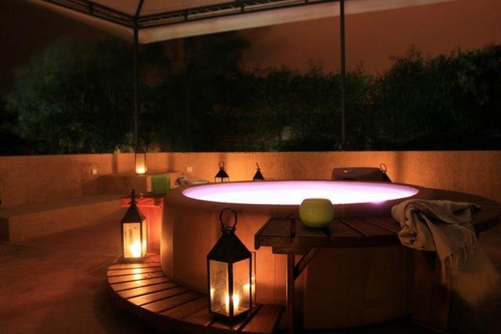 Softub hot tub with romantic lights