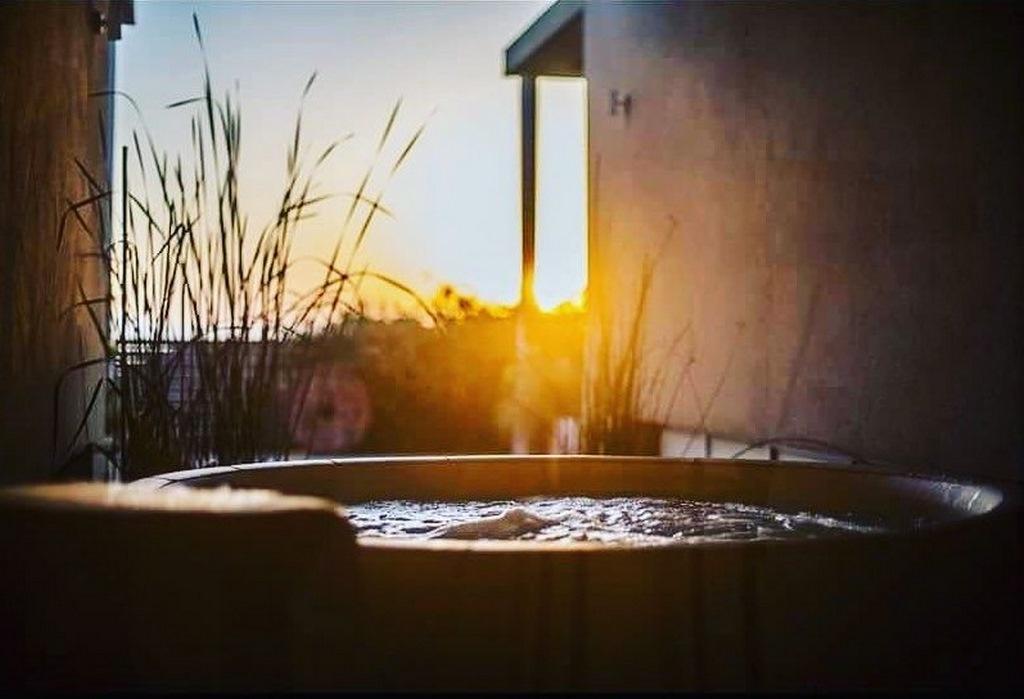 Softub hot tub at sunset