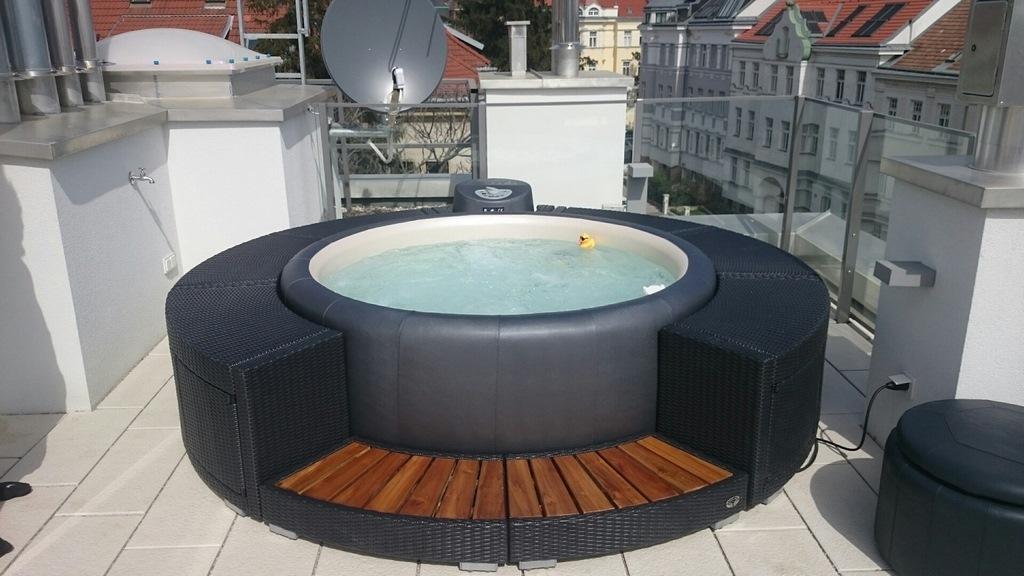 Softub hot tub on modern decking