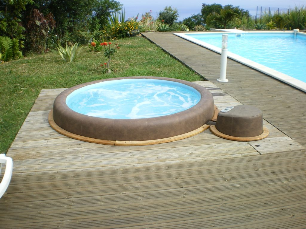 Softub hot tub sunk into decking